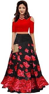 MARUTINANDAN NX Women's Silk Printed Semi-Stitched Silk Lehenga Choli (Black rose print, Beige, Free Size)