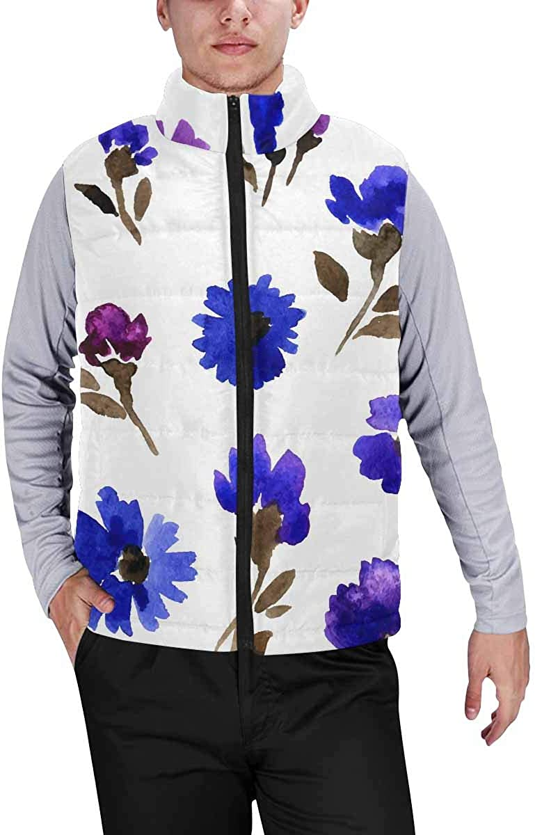 InterestPrint Men's Outdoor Casual Stand Collar Padded Vest Coats Blooming Orchids and Butterflies
