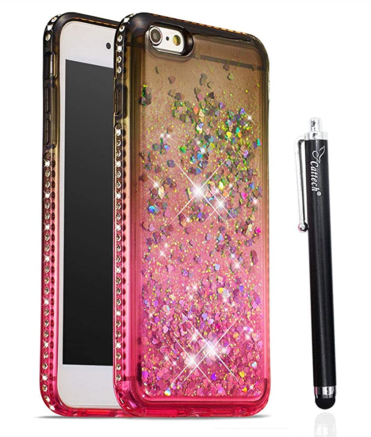 Case for iPhone 6 6S Plus, Cattech Glitter Liquid Floating Flowing Sparkle Flexible TPU Bling Diamond Slim Clear Soft TPU Cover Protective Case for iPhone 6/6S Plus 5.5 inch + Stylus (Gray/Pink)