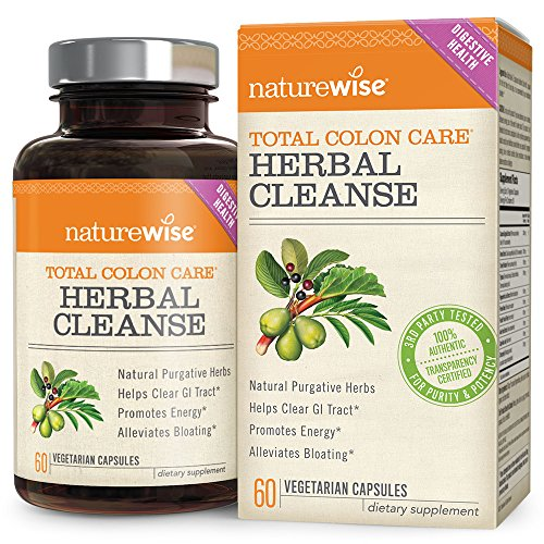 NatureWise Herbal Detox Cleanse Laxative Supplements — Natural Colon Cleanser Herb & Fiber Blend for Constipation Relief, Toxin Rid, Gut Health and Weight Loss Support, 60 time release veggie capsules