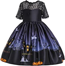 RONSHIN Halloween Clothes-Girl Kids Costume Cartoon Pattern Printing Full Dress for Festival Stage Costume WS002-black 110cm