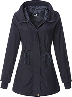 4How Women's Military Anorak Rain Jacket Lightweight Hooded Water Resistant Coat