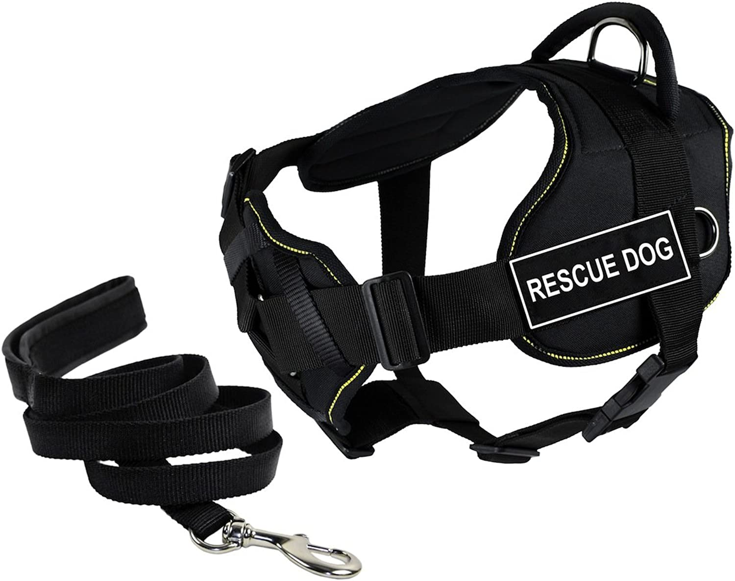 Dean & Tyler's DT Fun Chest Support RESCUE DOG Harness, Small, with 6 ft Padded Puppy Leash.