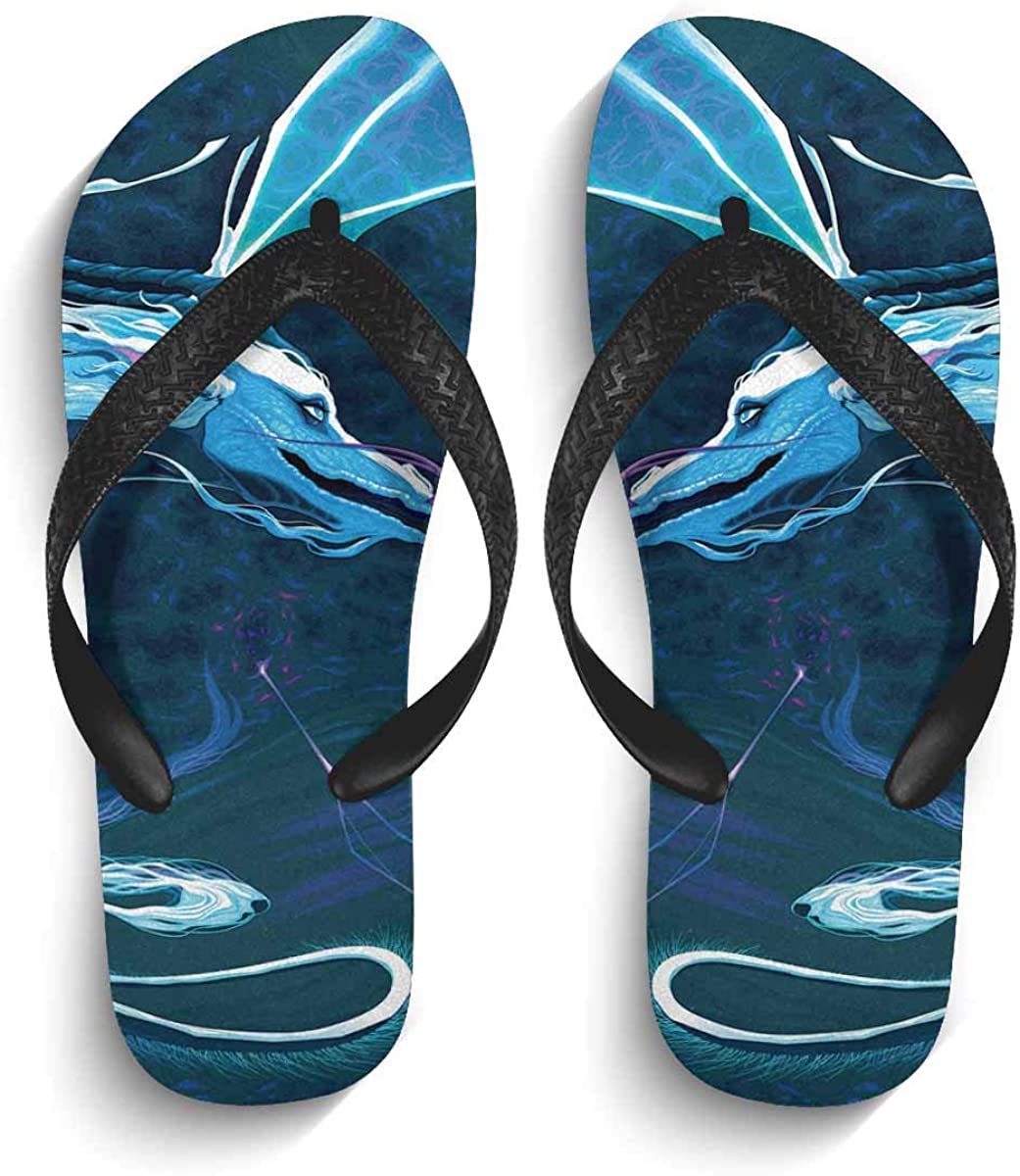 INTERESTPRINT Men's Non-Slip Flip Flops Wedding Card with Birds Thongs Sandals for Beach Lounging Home