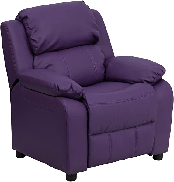 Offex OF BT 7985 KID PUR GG Deluxe Heavily Padded Contemporary Vinyl Kids Recliner With Storage Arms Purple