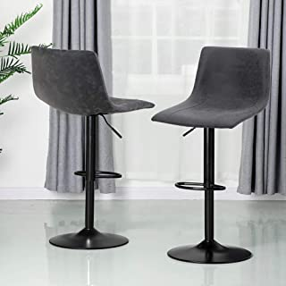 ALPHA HOME Bar Stools Counter Height Adjustable Bar Chair 360 Degree Swivel Seat Modern Square Pu Leather Kitchen Counter ...