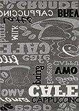 Trendiger Kaffee Teppich, verschiedene Schriftarten und Muster, Meliert in Grau, Weiß und Schwarz ideal für die Lounge oder Küche – ÖKO TEX Zertifiziert, Maße:120 cm x 170 cm - 5