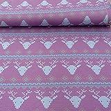Strickstoff Stenzo Hirsch Kopf pink hellblau weiß 1,50m