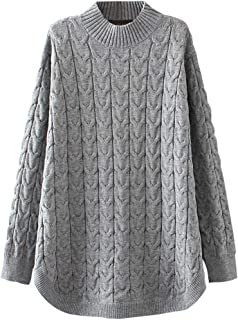 Women's Long Sleeve Sweater Mock Turtleneck Pullover Tops Ribbed Cable Knit Jumper