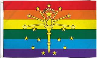 NEOPlex 3' x 5' Indiana Rainbow Pride Flag