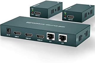 AAO HDMI Extender Splitter 1x2, Support UHD 1080P@60Hz & 3D Visual, 2 Channel Transmit 165ft (50m) Over CAT5e/CAT6/CAT7, with 2 HDMI Loop Out