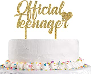 Talorine Glitter Acrylic Official Teenager Cake Topper, Happy 13th 14th 15th 16th 17th 18th Birthday Cake Topper Happy Bir...