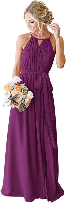 Harsuccting 2021 Keyhole Chiffon Bridesmaid Dress Western Wedding Party Evening Dress