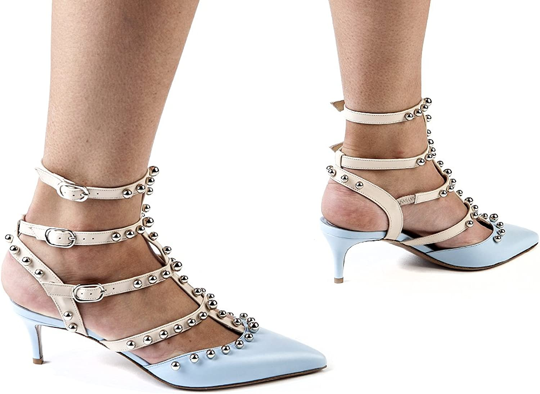 NANDO MUZI 6383 bluee Leather Women Italian Designer Strap Sandals
