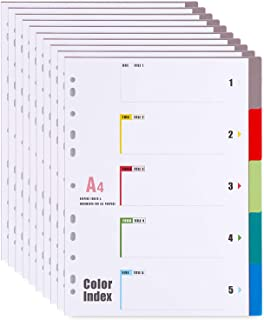 10 Pièces Feuillets Intercalaires 5 Positions, Intercalaires A4, 5 Onglets avec Table des Matières - couleurs assorties