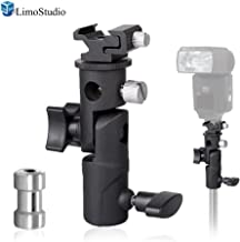 LimoStudio Flash Bracket E-Type Multi-Functional 4 1/4-inch Tall Including Umbrella Reflector Holder, Light Stand Tripod Hot Shoe Mount, 1/4, 3/8 inch Female Thread, Photo Studio, AGG1986