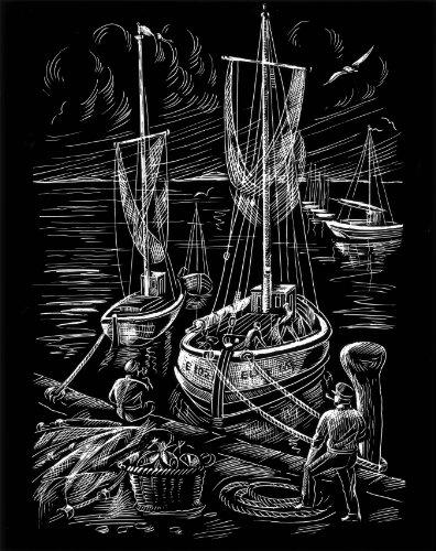 WASO Juego de 4Hobby–Imágenes scrapy arañazos–Barco Diseños/plata * grande *