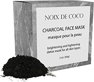 ORGANIC ACTIVATED CHARCOAL FACE MASK by Noix de Coco for All Skin Types - Brightening and Tightening Detox Mask for All Skin Types - Made with Kaolin Clay
