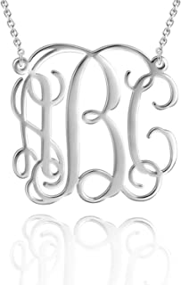 925 Sterling Silver Monogram Necklace Personalized Name Necklace Monogrammed Necklace Custom Name Initial Necklace for Women Girls