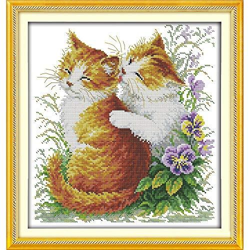 Kruissteek Eeuwige Liefde Kerstmis Kussen Katten (2) Chinese Kruissteek Kits Ecologisch Katoen gestempeld 11 CT