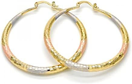 Yellow Rose and White Gold Tone Ladies Round Hollow Diamond-Cut Design Extra Large Hoop Earrings Tri-Color (70mmx4mm)