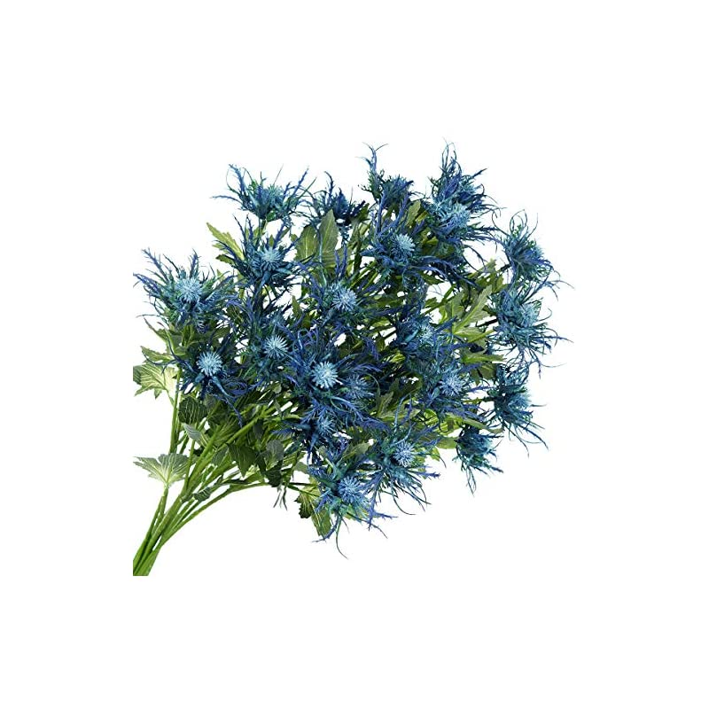 silk flower arrangements fiveseasonstuff real size artificial thistle flowers real touch 8 stems rustic blue thistle decor spray eryngium | sea holly for wedding bouquet centerpiece 26 inches