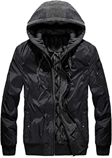 Mens Flight Jacket Winter Jacket Air Force Pilot Coats with Removable Hood(Somewhat Small)