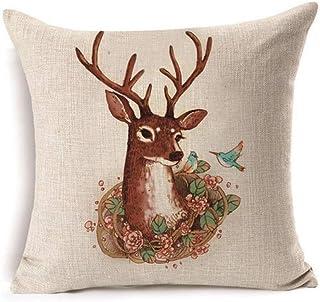 QTYVI Navidad Reno Bailarina Cometa Prancer Vixen Cupido Funda de cojín de Lino y algodón Decoración navideña cojín del sofá 45 * 45cm (4 Piezas)