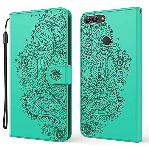 DEYX010369 - Funda para Huawei P Smart/Enjoy 7S (función atril, tarjetero), color verde
