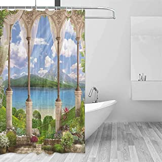QIAOQIAOLO Light Shower Curtain Italian Decor Old Ancient Stone Arch View The Sea Balcony Fresco Garden Plants Spiritual Travel Shower Curtain W55 xL87 Multicolor
