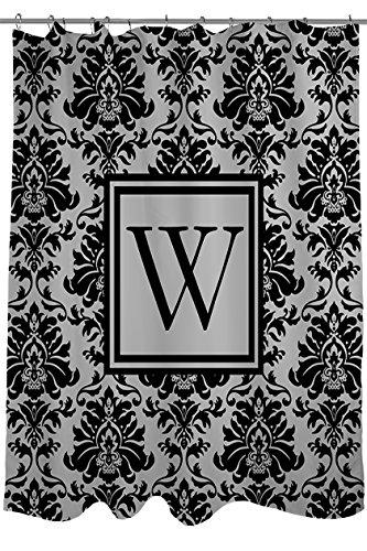 Handboek Houtwerkers & Wevers Douchegordijn, Monogrammed Letter W, zwart en grijs Damask