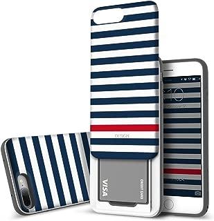 iPhone 8 Plus/iPhone 7 Plus Case DesignSkin [Slider] Upgraded Card Slot Shock Absorption Shockproof 3-Layer Protective Cover Holder Wallet Case Heavy Duty Bumper (Blue Stripe)