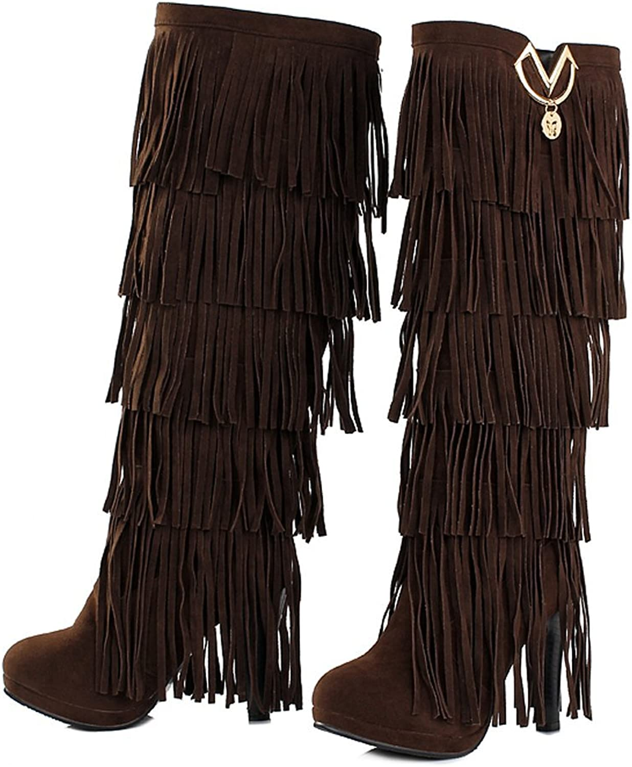Cindy's store Womens Fringe Tassel Stiletto Boots Faux Suede Moccasin High Heel Western Cowboy Knee High Boot