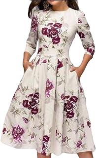 Women 3/4 Sleeve Crewneck Floral Print Dress Casual Midi Dress with Pocket
