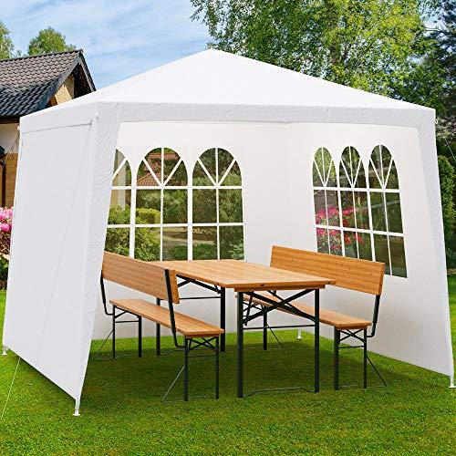 Deuba Pavillon 3x3m wasserabweisend Stecksystem Seitenwände UV-Schutz 50+ Festzelt Partyzelt Gartenzelt Bierzelt Festival