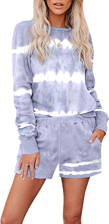 ROSKIKI Womens Tie Dye Printed Pajamas Limited price Set Max 58% OFF Short Tee Sleeve and