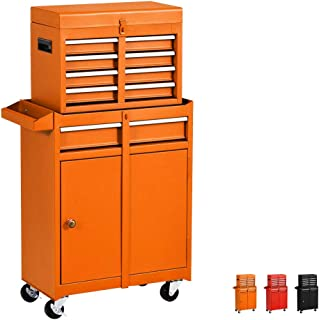 Household 5-Drawer Rolling Tool Chest with Wheels and Drawers,Tool Storage Cabinet,Detachable Organizer Tool Box Combo,Mobile Lockable Toolbox for Mechanics Garage