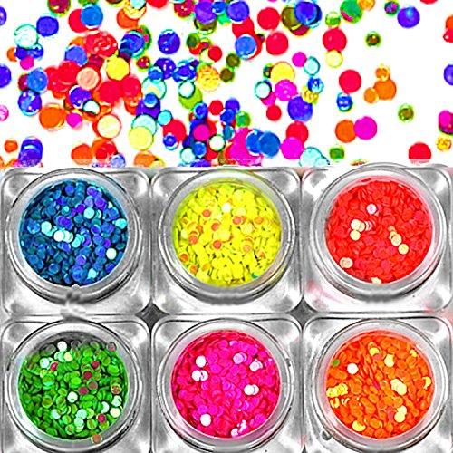 ~ ~ Set une de ~ ~ 6 boîtes de paillettes de pois en farbintensiven Fluo couleurs : Diamètre 2 mm