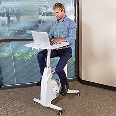 FLEXISPOT Desk Bike Stand up Folding Exercise Desk Cycle Height Adjustable Office Desk Stationary Exercise Bike - Deskcise Pro - 2018 CES Innovation Awards Almost Fully Assemble