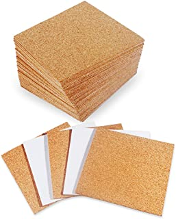 """30 Pack Self-Adhesive Cork Squares 4"""" x 4"""" Cork Tiles Cok Bcking Sheets Cork Coasters Square for DIY Crafts"""