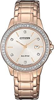 Citizen Women's Solar Powered Wrist watch, Leather Strap analog Display and Leather Strap, FE1173-52A