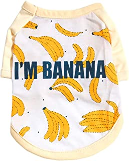 Moonite Dog Clothes I'm Banana Shirt,Cute Puppy Doggie Cat Vest Coats Tops Dress Pajamas Costume Outfits, Thanksgiving Halloween Christmas Party Clothes