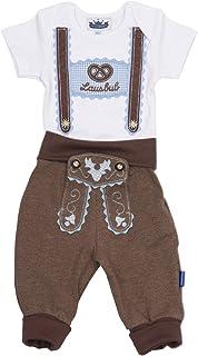Eisenherz Trachten Set für Lausbuben in Größe 86 bestehend aus Baby Body mit kurzem Arm und Applikation Hosenträger und Baby Jogginghose Lederhosen Look, braun - EIN tolles Geschenk