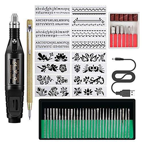Cutogain Mini kit de perceuse à Ongles électrique Sculpture Stylo de Polissage de ponçage kit d'outils de Nail Art Bricolage