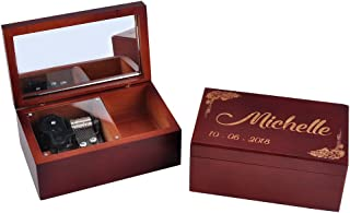 Awerise Personalized Brown Wooden Musical Box with Mirror, Custom Bridesmaid Box, Wood Music Box, Jewelry Box, Girlfriend Gift, Mother Gift, Birthday Xmas Gift (Tune: Yesterday Once More)