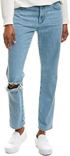 French Connection Womens High Rise Straight Jeans in Ripped Bleach.