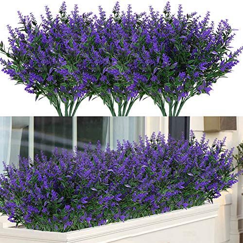 ArtBloom 8 Bundles Outdoor Artificial Lavender Fake Flowers UV Resistant Shrubs, Faux Plastic Greenery for Indoor Outside Hanging Plants Garden Porch Window Box Home Wedding Farmhouse Decor (Purple)
