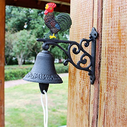 Vintage Bell Cast Iron Wandmontage Retro Rooster Gietijzeren deurbel huis wanddecoratie Wall Mounted Voordeur Bell voor Garden Farmhouse Yard (Color : Multi-colored, Size : Free size)