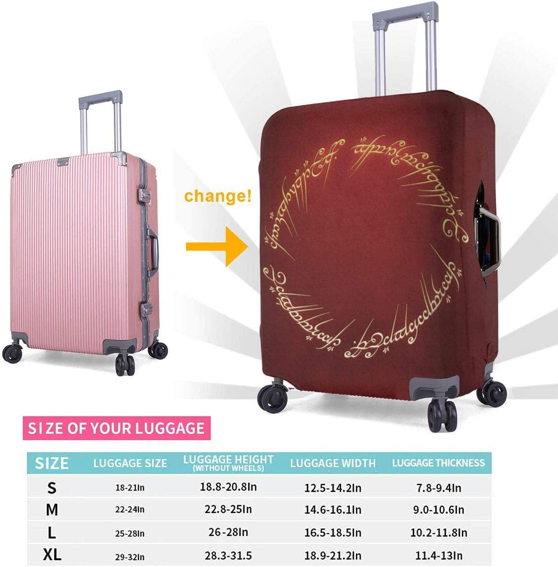 Suitcase Cover Lord Rings Trolley Travel Luggage Covers Suitcase Protector Washable Baggage Cover L