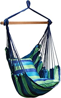 Number-One Hanging Hammock Chair Swing, Hanging Rope Swing Chair Porch Swing Seat with 2 Seat Cushions for Indoor and Outdoor Use, Max Weight: 265 Pounds
